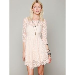 Free People Pink Floral Mesh Lace Dress